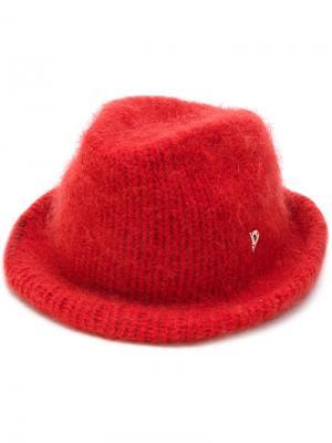 Ворсистая шляпа Dondup. Цвет: красный