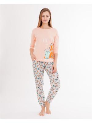 Комплект одежды: лонгслив, брюки Mark Formelle. Цвет: персиковый