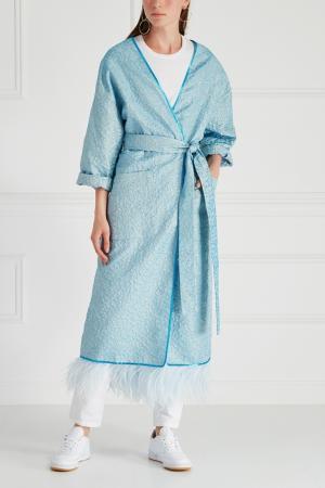 Шелковое пальто-халат Royal Blue Sophie&Eva. Цвет: голубой