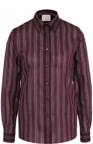 Блуза из смеси хлопка и шелка в полоску Stella Jean. Цвет: бордовый