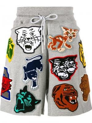 Спортивные шорты с нашивками Facetasm. Цвет: серый