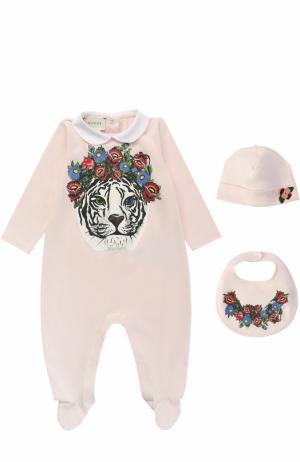 Хлопковая пижама в комплекте с нагрудником и шапкой Gucci. Цвет: розовый