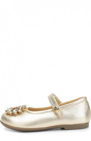 Туфли из металлизированной кожи с брошью Missouri. Цвет: золотой