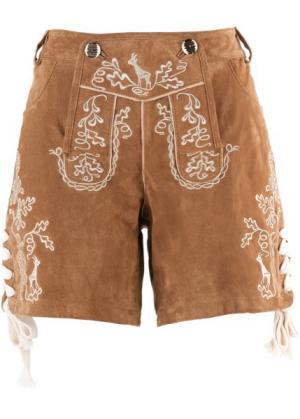 Кожаные шорты (темно-коричневый) bonprix. Цвет: темно-коричневый