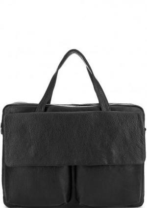 Кожаная сумка с ручками и съемным ремнем Bruno Rossi. Цвет: черный