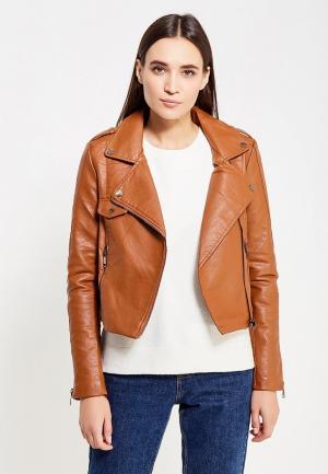 Куртка кожаная Regular. Цвет: коричневый
