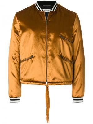 Атласная куртка-бомбер Saint Laurent. Цвет: жёлтый и оранжевый