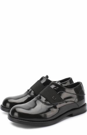 Оксфорды из лаковой кожи без шнуровки с эластичной вставкой Fendi Roma. Цвет: черный