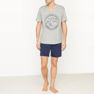 Пижама с шортами La Redoute Collections. Цвет: серый меланж + темно-синий