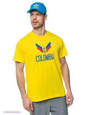 ФутболкаColumbia Adidas. Цвет: желтый