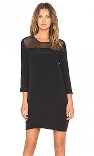 Платье с рукавом 3/4 ruche MKT studio. Цвет: черный