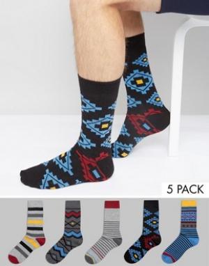 Urban Eccentric Набор из 5 пар носков в полоску и с принтом. Цвет: мульти