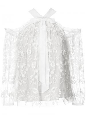 Кружевная блузка Needle & Thread. Цвет: белый