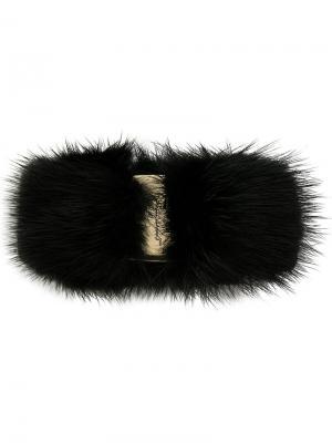Заколка для волос с мехом Salvatore Ferragamo. Цвет: чёрный