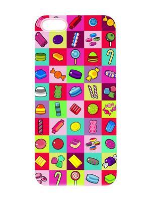 Чехол для iPhone 5/5s Конфетный принт Арт. IP5-068 Chocopony. Цвет: светло-зеленый, бледно-розовый, красный
