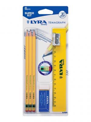 Lyra temagraph чернографитные карандаши с ластиком 3 шт в блист. c точилкой, и линейкой.. Цвет: белый, желтый, синий