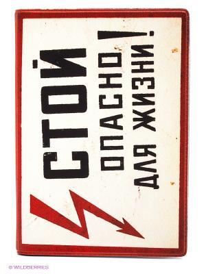 Обложка для автодокументов Стой! Опасно жизни! Mitya Veselkov. Цвет: красный, черный