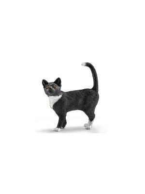 Кошка, стоит SCHLEICH. Цвет: белый, черный