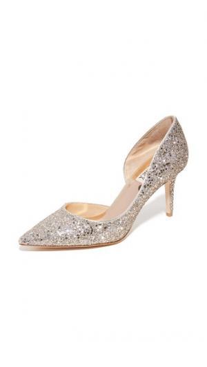 Туфли-лодочки с блестками Daisy Badgley Mischka. Цвет: платиновый