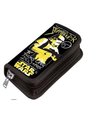 Пенал 1 отделение узкий Lucasfilm Star Wars без наполнения Disney. Цвет: черный