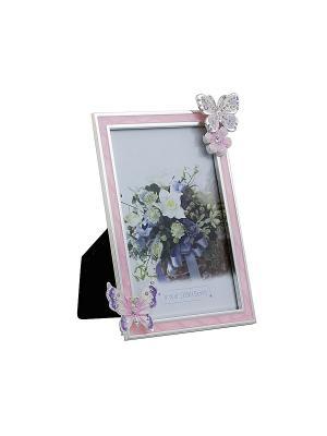 Фоторамка розовая c бабочкой, металлическая со стразами 10х15см PLATINUM quality. Цвет: розовый