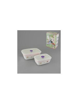 Набор емкостей для приготовления и хранения продуктов РОЗОВЫЙ ГОРИЗОНТ GUMERTAL. Цвет: белый