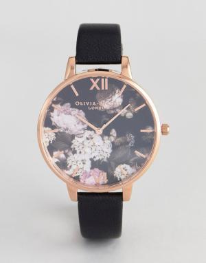Olivia Burton Часы с черным кожаным ремешком и цветочным рисунком OB15. Цвет: черный