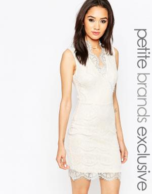 Lipstick Boutique Petite Кружевное облегающее платье с глубоким вырезом Petit. Цвет: кремовый