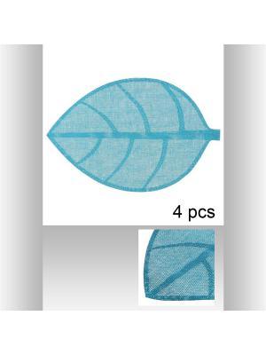 Набор из 4-х ковриков настольных индивидуальных Листок 50х33см  цвет голубой JJA. Цвет: голубой