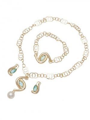 Набор бижутерии (Колье,серьги, браслет) Chantal. Цвет: золотистый,голубой