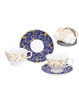 Чайный набор Королевский узор на синем Elan Gallery. Цвет: золотистый, белый, синий