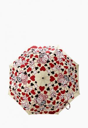 Зонт складной Moschino. Цвет: бежевый