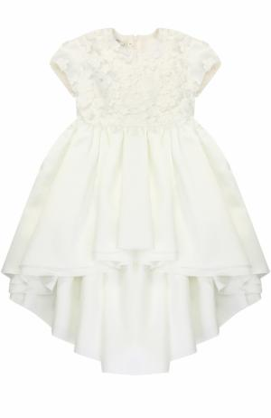 Платье с удлиненной спинкой и цветочной аппликацией Caf. Цвет: белый