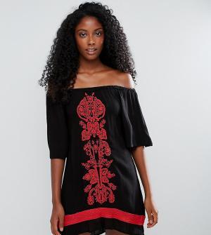 Akasa Пляжное платье с открытыми плечами и вышивкой. Цвет: черный
