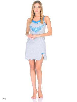 Ночная сорочка HomeLike. Цвет: серый, голубой