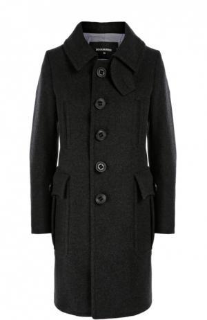 Шерстяное пальто прямого кроя с накладными карманами Dsquared2. Цвет: темно-серый