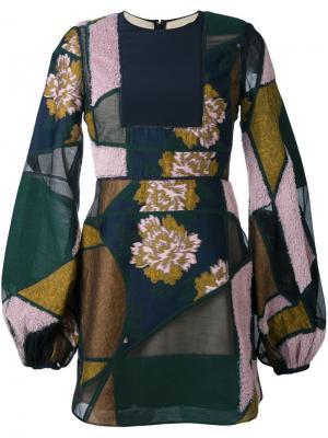 Лоскутное платье с объемными рукавами Roksanda. Цвет: синий