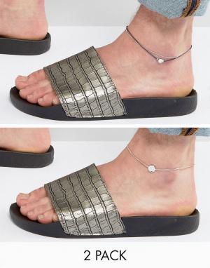 DesignB London Темно-синий браслет на ногу с цепочкой и шнурком эксклюзивно д. Цвет: темно-синий