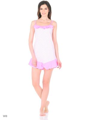 Ночная сорочка HomeLike. Цвет: розовый, белый