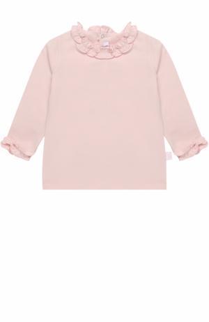 Пуловер из эластичного хлопка с оборками Il Gufo. Цвет: светло-розовый