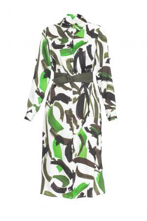 Платье из вискозы с поясом 163221 Anna Verdi. Цвет: разноцветный