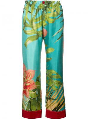 Пижамные брюки с тропическим принтом F.R.S For Restless Sleepers. Цвет: синий