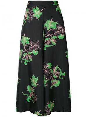 Расклешенные брюки с растительным принтом Vivetta. Цвет: чёрный