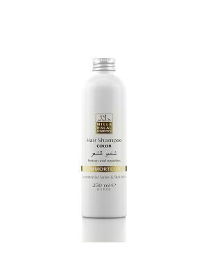 Шампунь для окрашенных волос с маслом ши (карите) и защитным уф-фактором IMMORTELLE MILLA HALAL COSMETICS. Цвет: желтый, белый