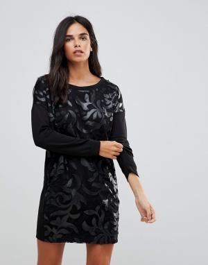 Wal G Платье-джемпер с отделкой из полиуретана. Цвет: черный