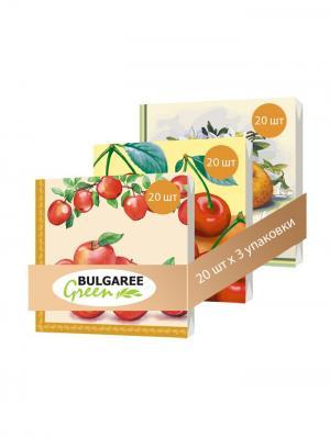 Набор Фруктовая Фантазия из 3 упаковок трехслойных салфеток с ярким принтом, 3х20шт Bulgaree Green. Цвет: желтый, красный, оранжевый