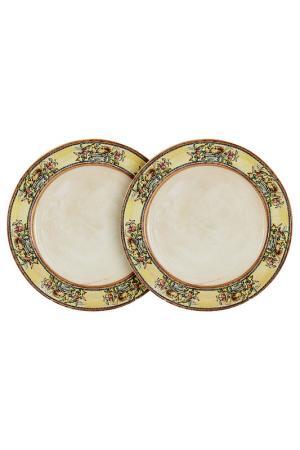 Набор из 2-х тарелок LCS. Цвет: бежевый, синий