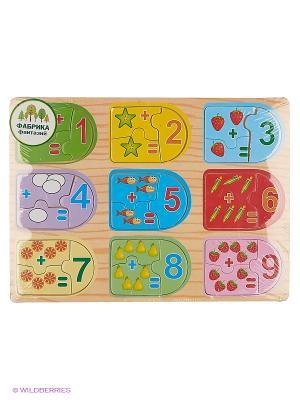 Деревянная игрушка рамка-вкладыш Цифры Фабрика Фантазий. Цвет: бежевый