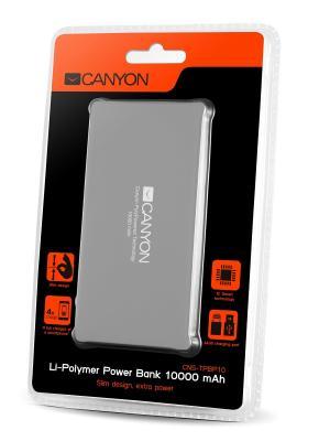Полимерный аккумулятор Canyon CNS-TPBP10DG, 10000mAh,. Цвет: темно-серый