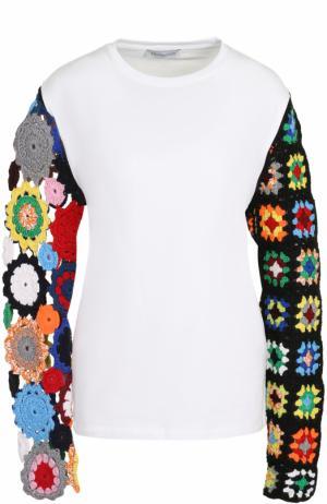 Пуловер с контрастными кружевными рукавами J.W. Anderson. Цвет: белый